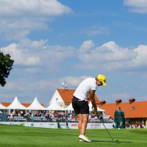 11/08/2013. Ladies European Tour. Honma Pilsen Golf Masters, Golf Park Plzn, Dysina, Prague, Czech Republic. 9-11 Aug 2013. Ann-Kathrin Lindner of Germany hits into the 18th green during the final round. Credit: Tristan Jones