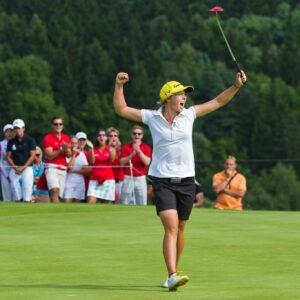 11/08/2013. Ladies European Tour. Honma Pilsen Golf Masters, Golf Park Plzn, Dysina, Prague, Czech Republic. 9-11 Aug 2013. Ann-Kathrin Lindner of Germany celebrates her maiden victory on the 18th hole during the final round. Credit: Tristan Jones